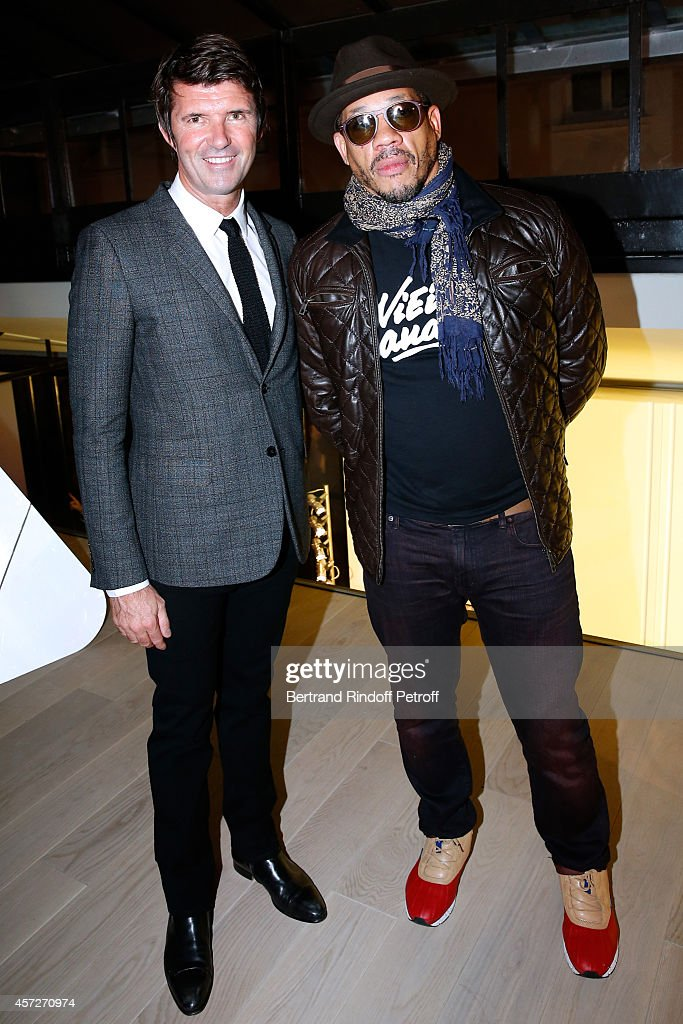 CEO Mazarine Paul-Emmanuel Reiffers and singer <a gi-track='captionPersonalityLinkClicked' href=/galleries/search?phrase=Joey+Starr&family=editorial&specificpeople=2115326 ng-click='$event.stopPropagation()'>Joey Starr</a> attend the 'Studio Des Acacias' from Mazarine Group Opening Party with the Mark Handforth 'Drop Shadow' Exhibition. Held at Studio des Acacias on October 15, 2014 in Paris, France.