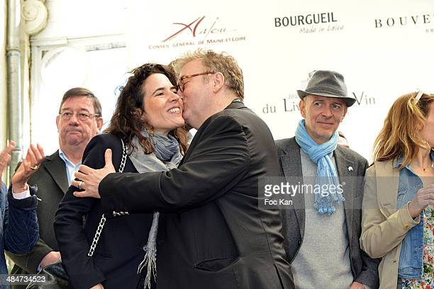 Mazarine Pingeot and Dominique Besnehard attend the 'Journees Nationales du Livre et du Vin 2014' At Bouvet Ladurey Cellars on April 13 2014 in...