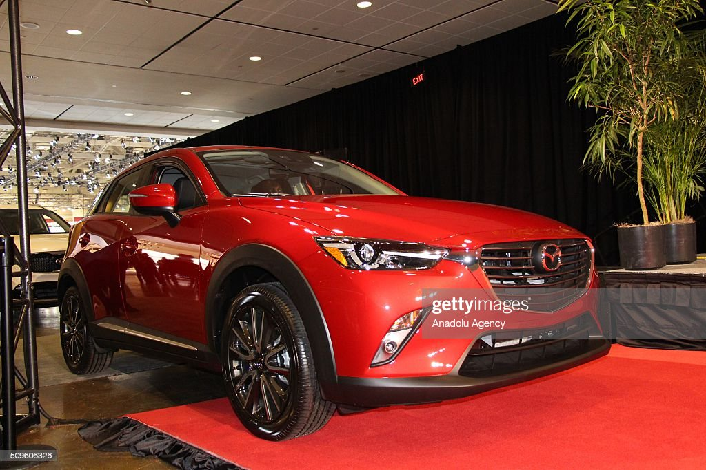 A Mazda CX-3 is on display as the Mazda CX-3 has been named the 2016 Canadian Utility Vehicle of the Year during the Canada Auto Show at Toronto Metro Convention Center in Toronto, Canada on February 11, 2016.