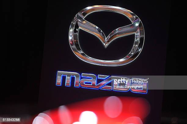 Mazda logo is displayed during the Geneva Motor Show 2016 on March 2 2016 in Geneva Switzerland