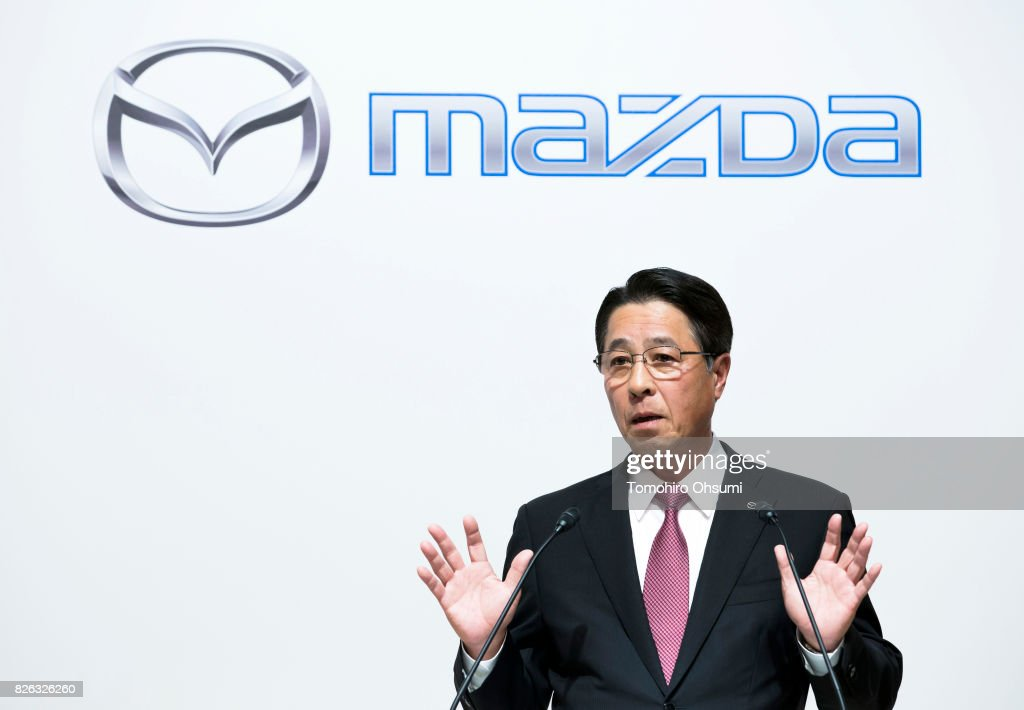 Mazda Motor Co. President and CEO Masamichi Kogai speaks during a joint press conference with Toyota Motor Co. President Akio Toyoda, not pictured, on August 4, 2017 in Tokyo, Japan. Toyota and Mazda announced to form a partnership establishing a joint venture that produce vehicles in the United States and jointly developing technologies for electric vehicles.