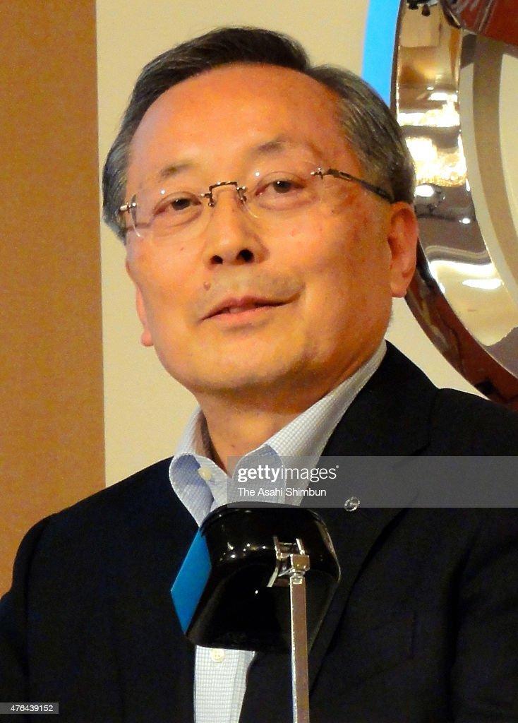 Mazda Motor Co President Takashi Yamauchi speaks during a press conference on June 17, 2011 in Tokyo, Japan.