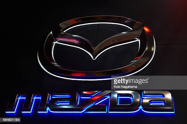 Mazda Motor Corporation logo is seen during the Tokyo Motor Show 2015 at Tokyo Big Sight on October 28 2015 in Tokyo Japan