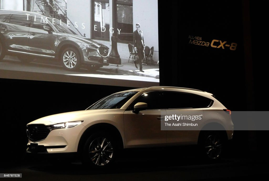 Mazda Motor Co's new SUV 'CX-8' is displayed during its unveiling on September 14, 2017 in Tokyo, Japan.