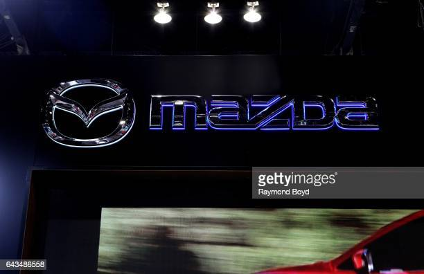 Mazda signage is on display at the 109th Annual Chicago Auto Show at McCormick Place in Chicago Illinois on February 10 2017
