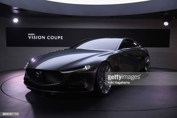 Mazda Vision Coupe is displayed at the Mazda Motor Co booth during the Tokyo Motor Show at Tokyo Big Sight on October 25 2017 in Tokyo Japan