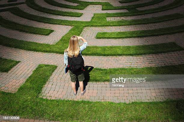 Maze Footpath with Woman Teenager Student Forecasting the Way Forward