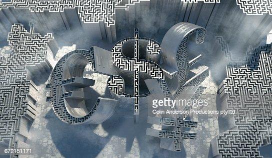 Maze inside three dimensional money symbols