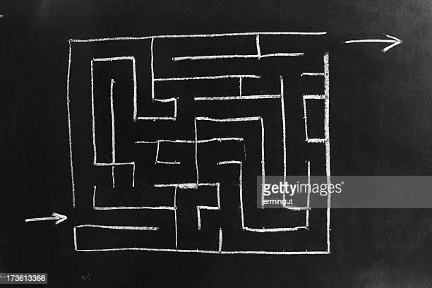 Maze on blackboard