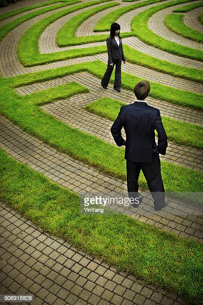 Maze with Confused Business People Searching Path for Strategy, Solutions