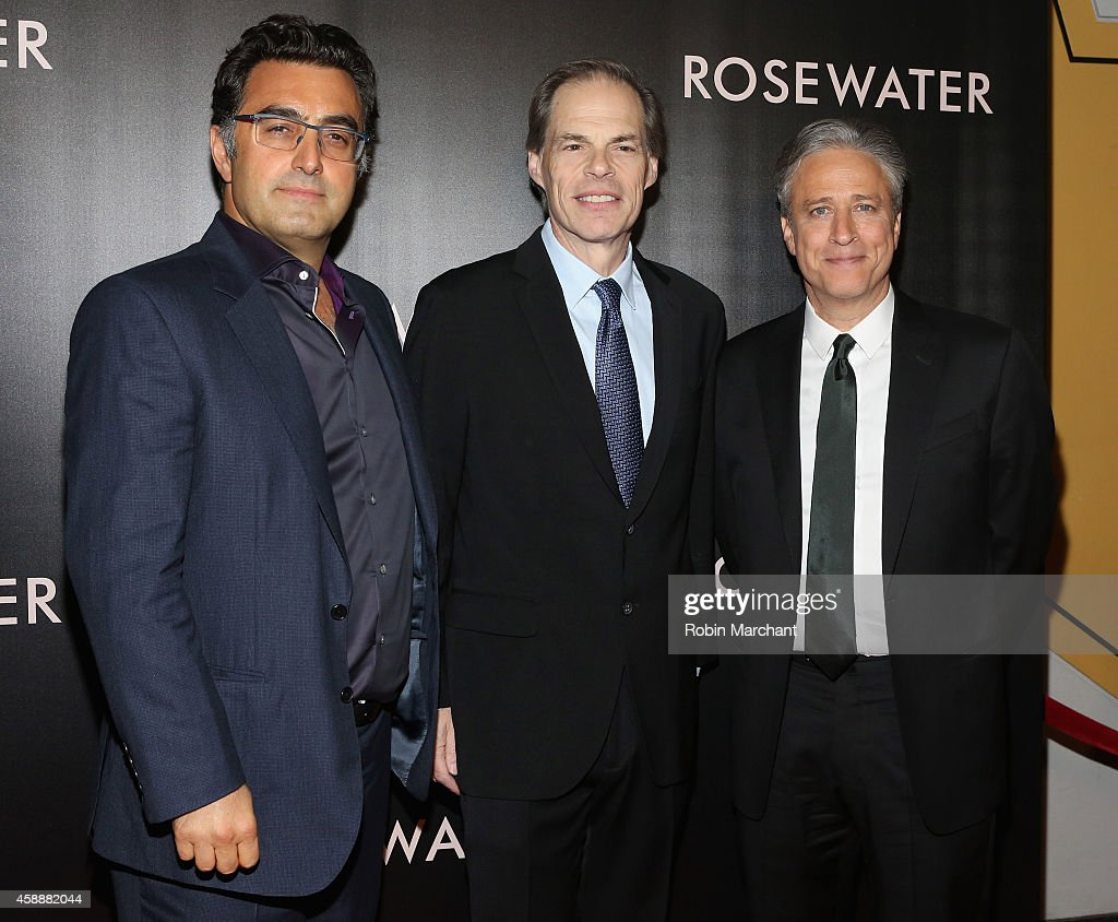 Maziar Bahari, Tom Ortenberg and Jon Stewart attend 'Rosewater' New York Premiere at AMC Lincoln Square Theater on November 12, 2014 in New York City.