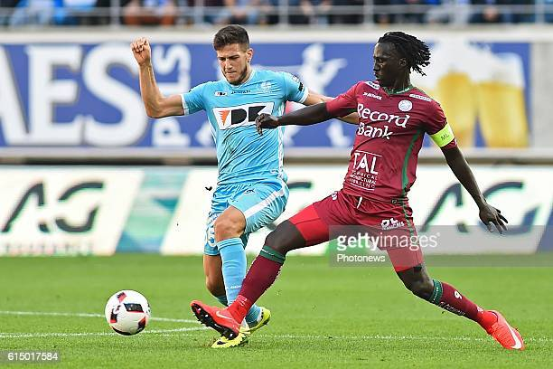 Mbaye Leye forward of SV Zulte Waregem and Rami Gershon defender of KAA Gent in a fight or the ball during the Jupiler Pro League match between KAA...