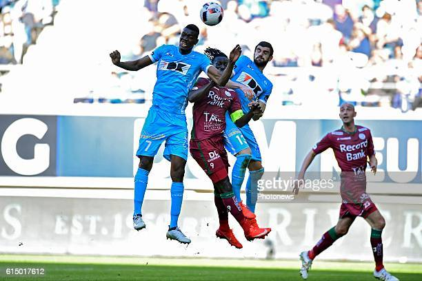 Mbaye Leye forward of SV Zulte Waregem in between Kalifa Coulibaly forward of KAA Gent and Stefan Mitrovic defender of KAA Gent during the Jupiler...
