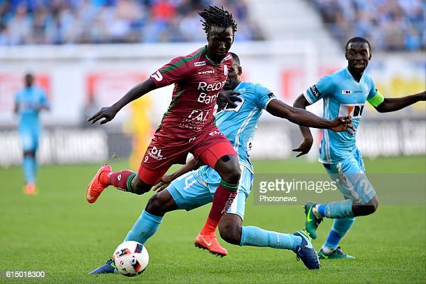 Mbaye Leye forward of SV Zulte Waregem is attacking during the Jupiler Pro League match between KAA Gent and SV Zulte Waregem in the Ghelamco Arena...