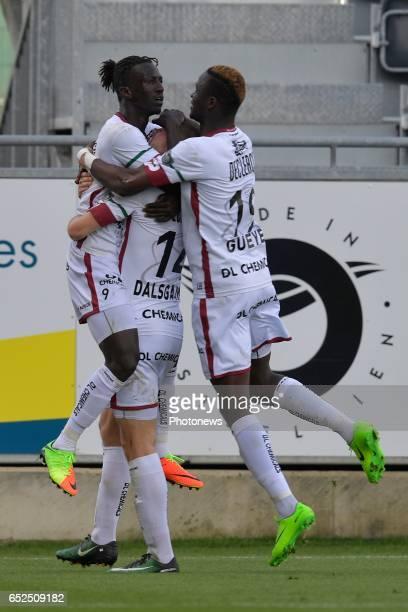Mbaye Leye of SV Zulte Waregem Henrik Dalsgaard of SV Zulte Waregem and Babacar Gueye of SV Zulte Waregem during the Jupiler Pro League match between...