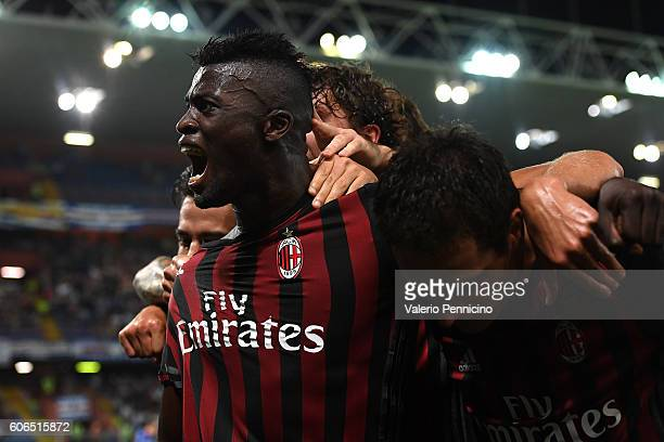 Mbaye Niang of AC Milan celebrates after his teammate Carlos Bacca scored the opening goal during the Serie A match between UC Sampdoria and AC Milan...