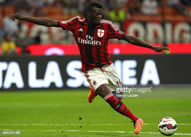 Mbaye Niang of AC Milan in action during the Serie A match between AC Milan and SS Lazio at Stadio Giuseppe Meazza on August 31 2014 in Milan Italy