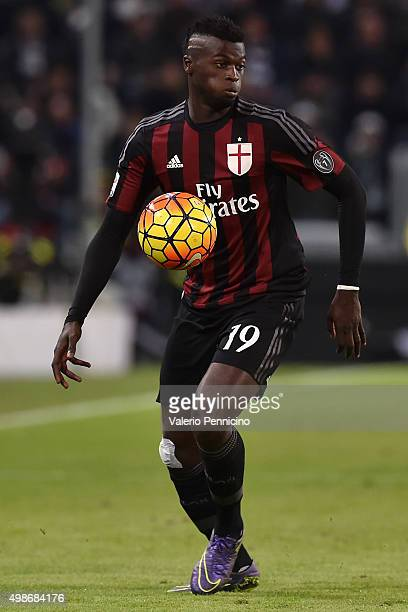 Mbaye Niang of AC Milan in action during the Serie A match between Juventus FC and AC Milan at Juventus Arena on November 21 2015 in Turin Italy