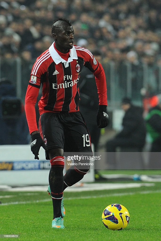Mbaye Niang of AC Milan in action during the TIM cup match between Juventus FC and AC Milan at Juventus Arena on January 9, 2013 in Turin, Italy.