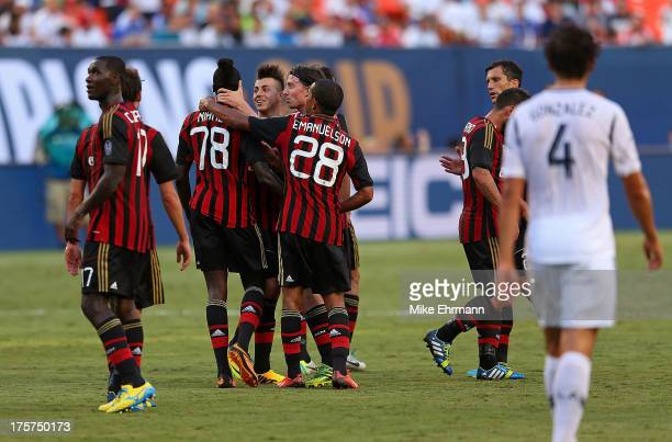 Mbaye Niang of AC Milan is congratulated after scoring a goal against the Los Angeles Galaxy during the International Champions Cup Third Place Match...