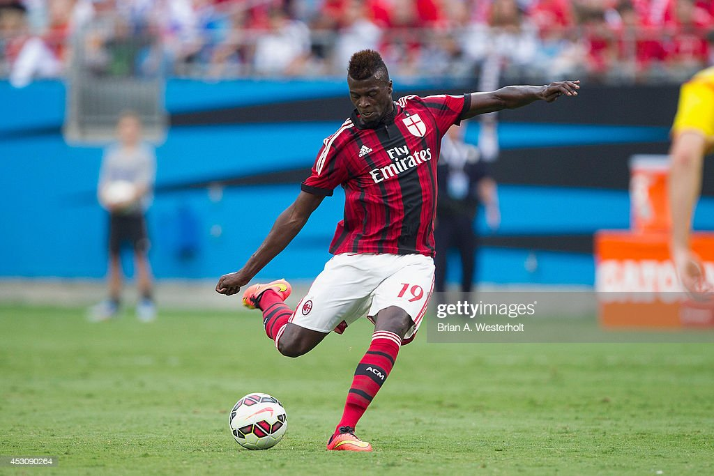 Mbaye Niang #19 of A.C. Milan kicks the ball during first half action against Liverpool in the Guinness International Champions Cup at Bank of America Stadium on August 2, 2014 in Charlotte, North Carolina. Liverpool defeated A.C. Milan 2-0.