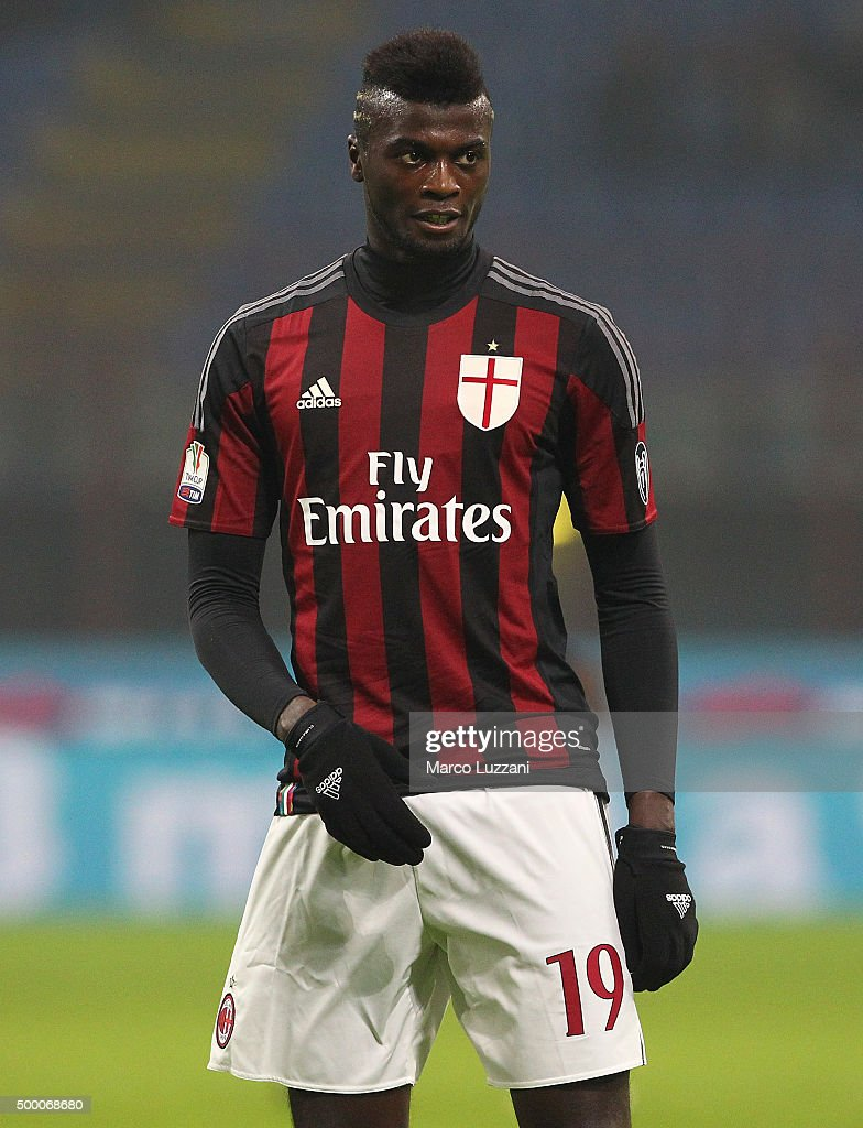 Mbaye Niang of AC Milan looks on during the TIM Cup match between AC Milan and FC Crotone at Stadio Giuseppe Meazza on December 1, 2015 in Milan, Italy.