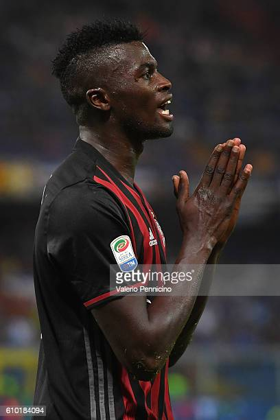 Mbaye Niang of AC Milan reacts during the Serie A match between UC Sampdoria and AC Milan at Stadio Luigi Ferraris on September 16 2016 in Genoa Italy