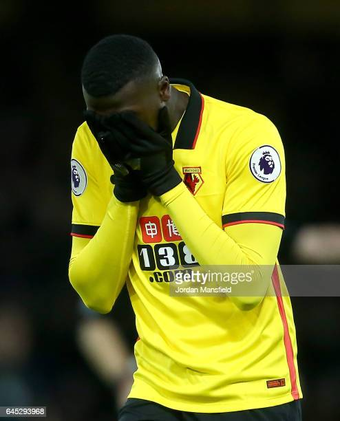 Mbaye Niang of Watford reacts after a missed chance during the Premier League match between Watford and West Ham United at Vicarage Road on February...