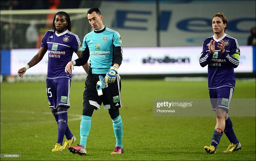 Mbokani Dieumerci of Rsc Anderlecht - Proto Silvio goalkeeper of Rsc Anderlecht - Biglia Lucas of Rsc Anderlecht in action during the Jupiler League match between RSC Anderlecht and SV Zulte Waregem on February 27, 2013 in Anderlecht, Belgium.