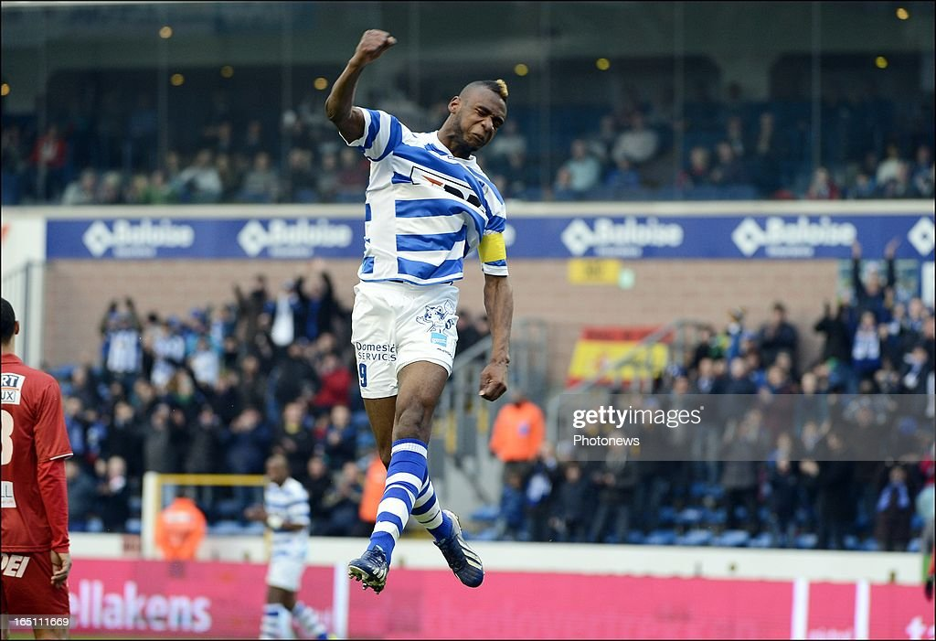 Mboyo Ilombe of KAA Gent celebrates after scoring a goal during the Jupiler League Play-off 2 match between Kaa Gent and Raec Mons on March 30 in Gent , Belgium.