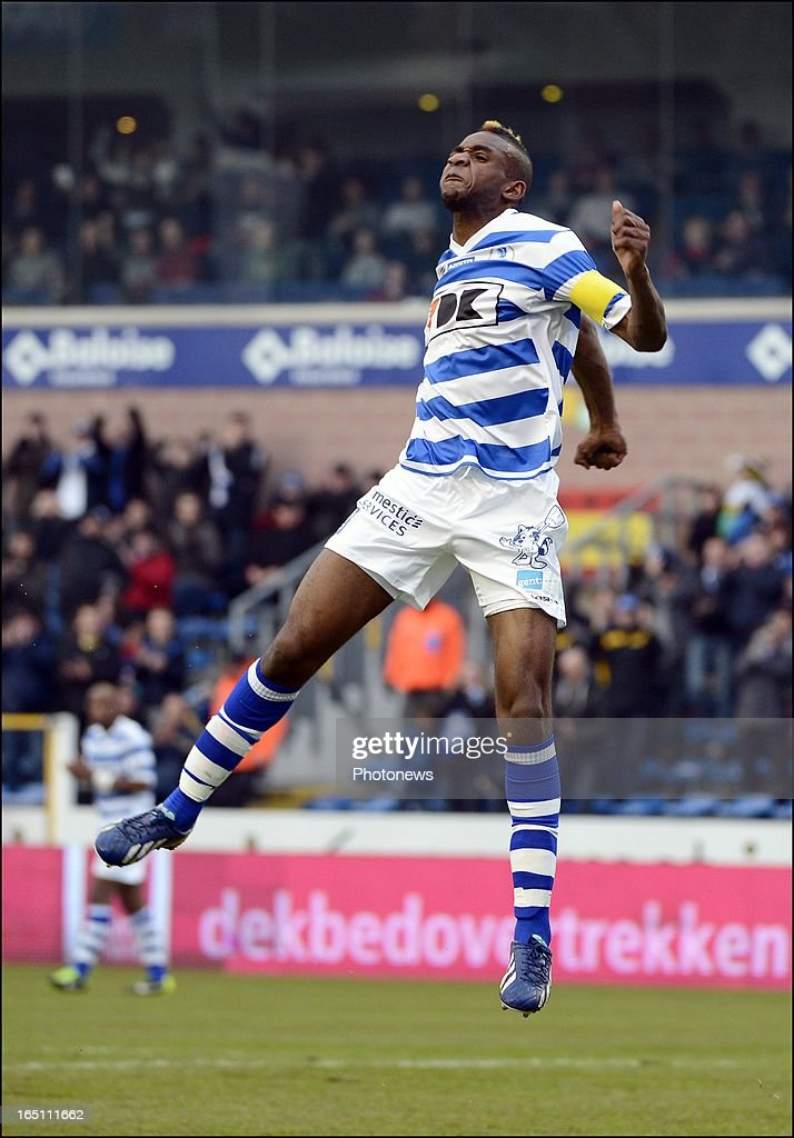 Mboyo Ilombe of KAA Gent celebrates during the Jupiler League Play-off 2 match between Kaa Gent and Raec Mons on March 30 in Gent , Belgium.