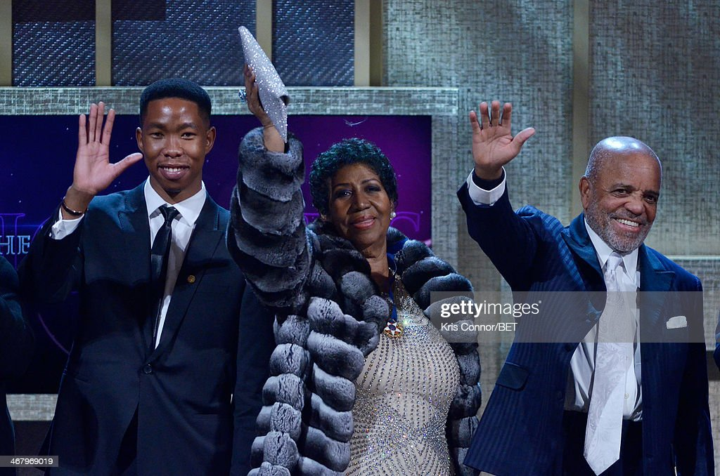Mbuso Mandela, <a gi-track='captionPersonalityLinkClicked' href=/galleries/search?phrase=Aretha+Franklin&family=editorial&specificpeople=210665 ng-click='$event.stopPropagation()'>Aretha Franklin</a>, and record producer Berry Gordy appear onstage at BET Honors 2014 at Warner Theatre on February 8, 2014 in Washington, DC.