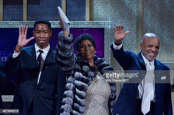 Mbuso Mandela Aretha Franklin and record producer Berry Gordy appear onstage at BET Honors 2014 at Warner Theatre on February 8 2014 in Washington DC