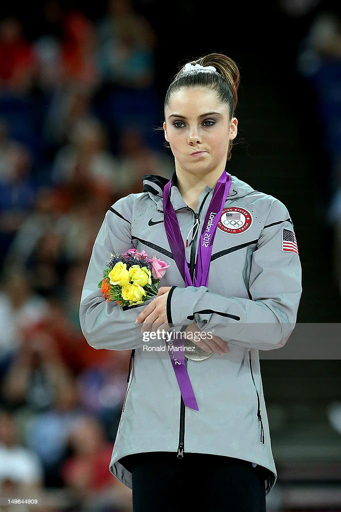 Mc Kayla Maroney of the United States stands on the podium with her silver medal during the medal ceremony following the Artistic Gymnastics Women's Vault final on Day 9 of the London 2012 Olympic Games at North Greenwich Arena on August 5, 2012 in London, England.