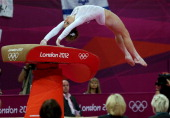 Mc Kayla Maroney of United States competes in the Artistic Gymnastics Women's Vault final on Day 9 of the London 2012 Olympic Games at North...