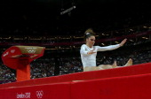 Mc Kayla Maroney of United States fails to land her dismount in the Artistic Gymnastics Women's Vault final on Day 9 of the London 2012 Olympic Games...