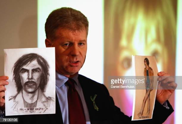 McCann family spokesman Clarence Mitchell holds two artist's impression of the new suspect on January 20 2008 in London England The description has...