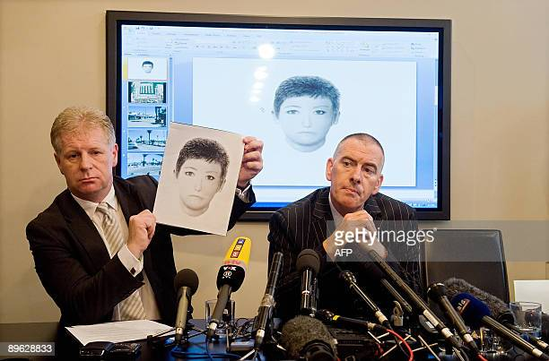 McCann family spokesman Clarence Mitchell holds up a photofit of a woman that investigators wish to speak to in the ongoing case into the...