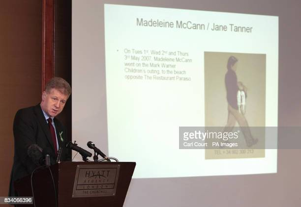 McCann family spokesman Clarence Mitchell speaks at a press conference at the Hyatt Regency Churchill Hotel in central London where an artists...