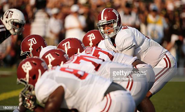 McCarron of the Alabama Crimson Tide calls a play during the fourth quarter during the game against the Texas AM Aggies at Kyle Field on September 14...