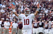 McCarron of the Alabama Crimson Tide celebrates a second quarter touchdown during the game against the Texas AM Aggies at Kyle Field on September 14...