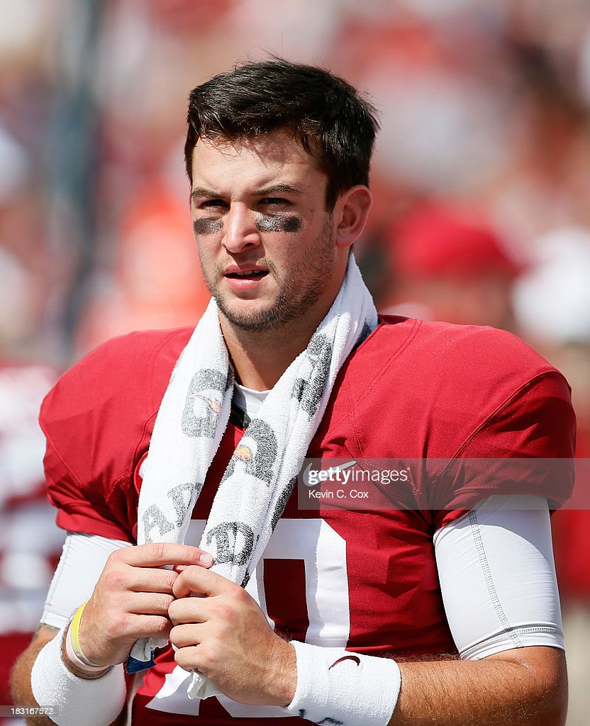 AJ McCarron #10 of the Alabama Crimson Tide looks on from the sidelines during their 45-3 win over the Georgia State Panthers at Bryant-Denny Stadium on October 5, 2013 in Tuscaloosa, Alabama.
