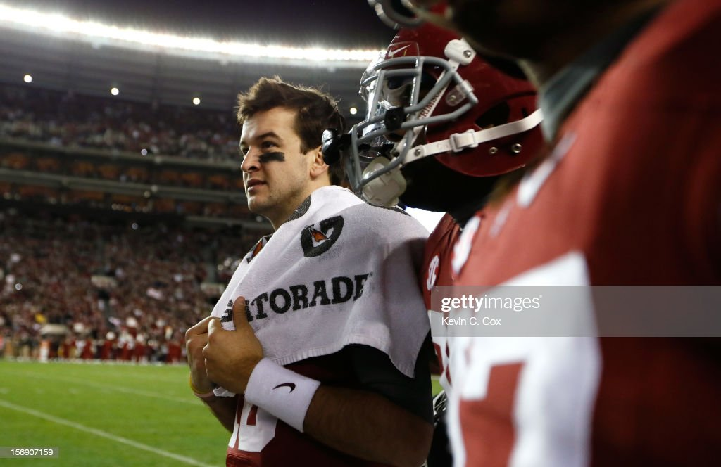 AJ McCarron #10 of the Alabama Crimson Tide waits on the sideline in the final seconds of their 49-0 win over the Auburn Tigers at Bryant-Denny Stadium on November 24, 2012 in Tuscaloosa, Alabama.