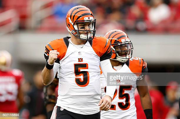 McCarron of the Cincinnati Bengals celebrates after a 20yard touchdown pass against the San Francisco 49ers during their NFL game at Levi's Stadium...