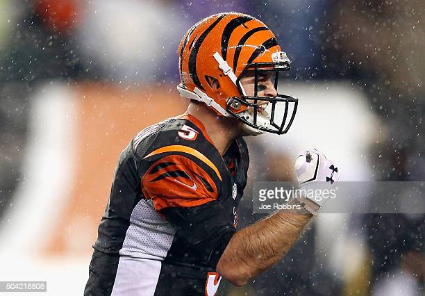 McCarron of the Cincinnati Bengals celebrates throwing a touchdown pass to AJ Green in the fourth quarter against the Pittsburgh Steelers during the...