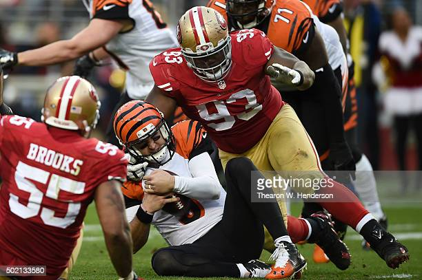 McCarron of the Cincinnati Bengals is sacked by Ian Williams of the San Francisco 49ers during their NFL game at Levi's Stadium on December 20 2015...