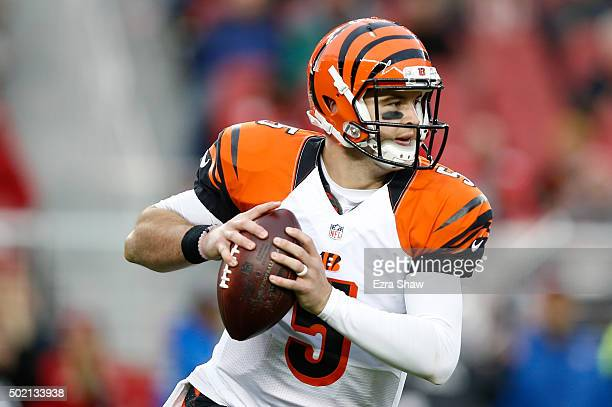 McCarron of the Cincinnati Bengals looks to pass against the San Francisco 49ers during their NFL game at Levi's Stadium on December 20 2015 in Santa...