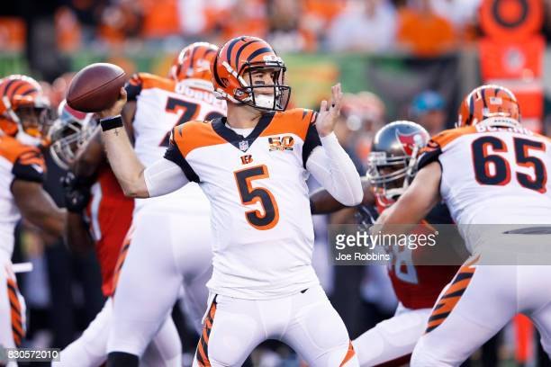 McCarron of the Cincinnati Bengals looks to pass in the second quarter of a preseason game against the Tampa Bay Buccaneers at Paul Brown Stadium on...