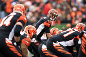 McCarron of the Cincinnati Bengals prepares to take a snap during the first quarter of the game against the Baltimore Ravens at Paul Brown Stadium on...