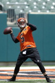McCarron of the Cincinnati Bengals throws a pass during an organized team activity workout at Paul Brown Stadium on June 3 2014 in Cincinnati Ohio
